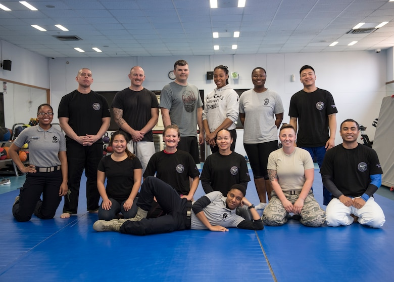 Base members take a group photo after a self-defense class March 19, 2019, at Incirlik Air Base, Turkey.