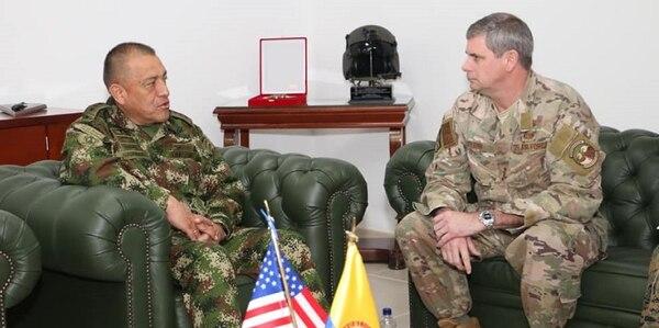 U.S. Southern Command's Military Deputy Commander, U.S. Air Force Lt. Gen. Michael Plehn, meets with Colombian Army Maj. Gen. Luis Navarro Jiménez, Commanding General of the Colombian Military Forces.