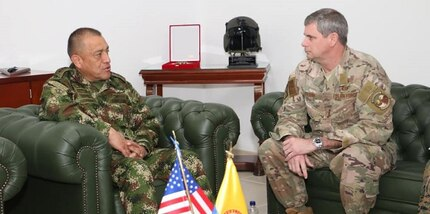 U.S. Southern Command's Military Deputy Commander, U.S. Air Force Lt. Gen. Michael Plehn, meets with Colombian Army Maj. Gen. Luis Navarro Jiménez, Commanding General of the Colombian Military Forces.