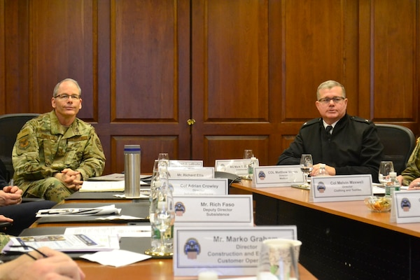 Air Force officer Maj. Gen. LaBrutta and Army officer Gen. Simerly talk about DLA Troop Support