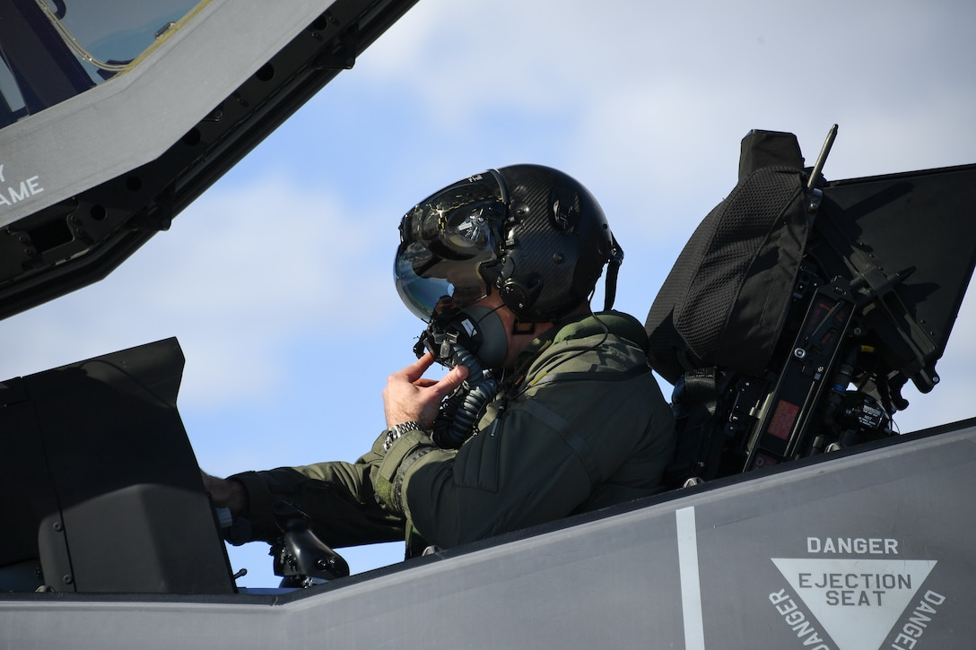 An F-35A Lightning II pilot from the 388th Fighter Wing goes through pre-flight checks. Pilots and maintainers here recently completed the first F-35A rapid crew swap exercise, which cuts hours off the time between sorties. (U.S. Air Force file photo by R. Nial Bradshaw)