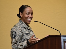 """U.S. Air Force Master Sgt. Sharita Crishon, 81st Medical Support Squadron first sergeant, delivers remarks as the guest speaker during the Women's History Month Luncheon at the Bay Breeze Event Center on Keesler Air Force Base, Mississippi, March 19, 2019. Every March women are recognized for their contributions and impact to the military and society. The theme for this year's Women's History Month is """"Visionary Women:  Champions of Peace and Nonviolence."""" (U.S. Air Force photo by Kemberly Groue)"""
