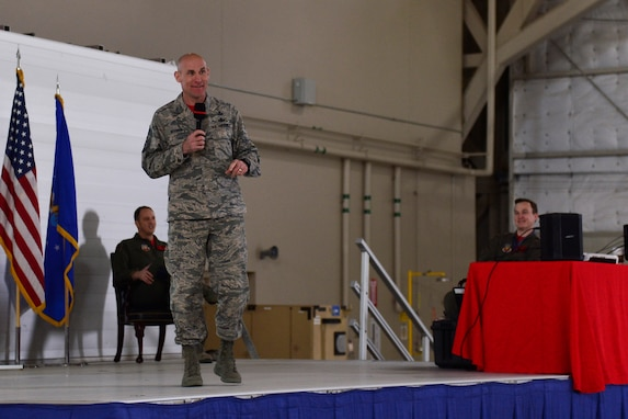 Chief Master Sgt. Jamie Newman, 432nd Wing/432nd Air Expeditionary Wing command chief, explains the importance of being a wingman to help prevent suicide during an all-call at Creech Air Force Base, Nevada, Mar. 8, 2019. Newman and Col. Julian Cheater, 432nd WG/432nd AEW commander, touched on a variety of topics ranging from reaching four million flight hours to supporting the Hunter family, career progression and training. (U.S. Air Force photo by Tech. Sgt. Dillon White)