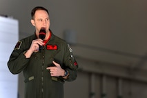 Col. Julian Cheater, 432nd Wing/432nd Air Expeditionary Wing commander, talks about the wing's innovative and forward thinking, during an all-call at Creech Air Force Base, Nevada, Mar. 8, 2019. Cheater and Chief Master Sgt. Jamie Newman, 432nd WG/432nd AEW command chief, touched on a variety of topics ranging from reaching four million flight hours to supporting the Hunter family, career progression and training. (U.S. Air Force photo by Tech. Sgt. Dillon White)