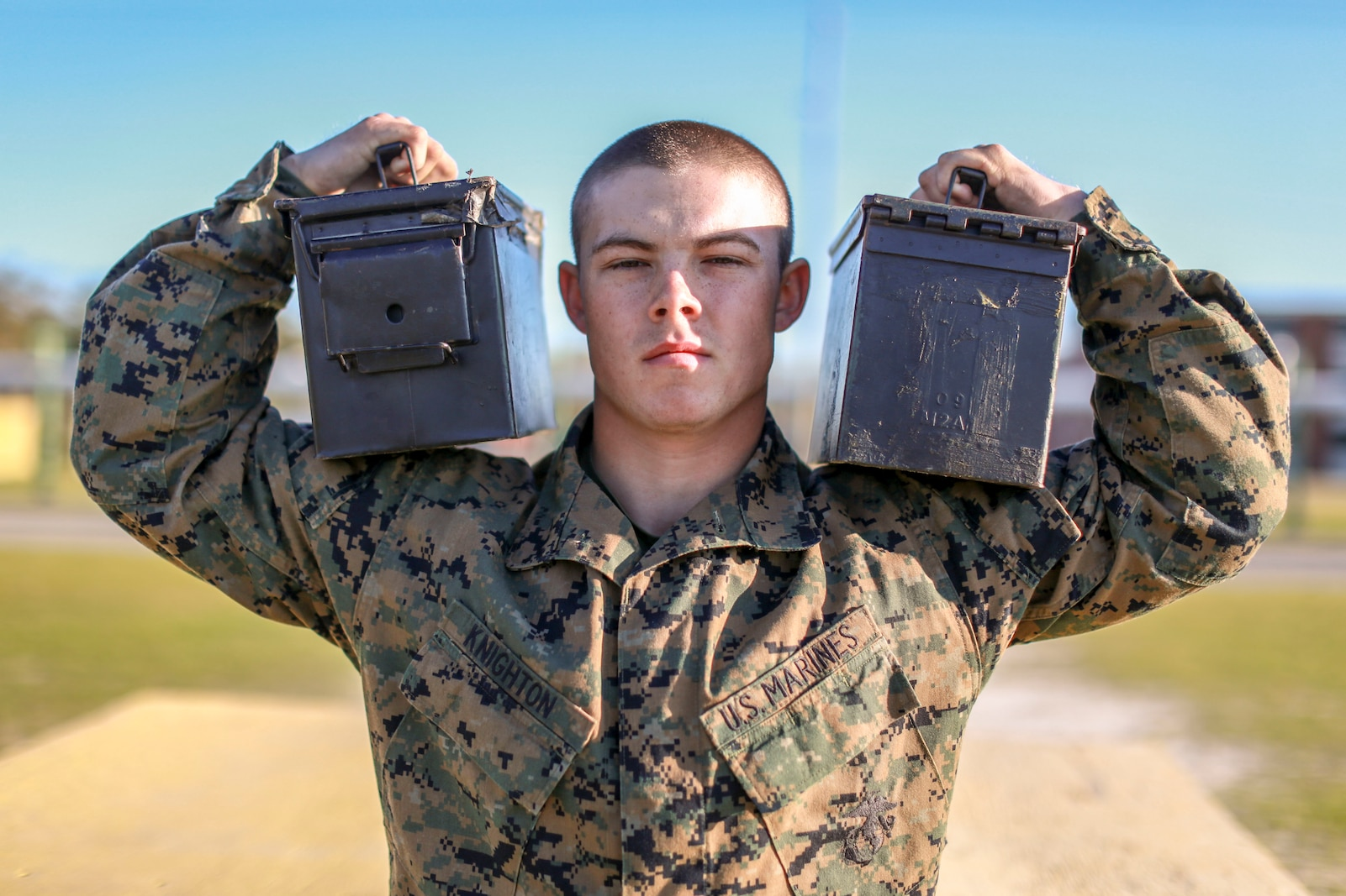 Recruit Dillon Knighton, with Fox Company, 2nd Recruit Training Battalion, poses for a photo after completing a Combat Fitness Test at Marine Corps Recruit Depot Parris Island, South Carolina March 20, 2019. Knighton is a native of Columbus, North Carolina.