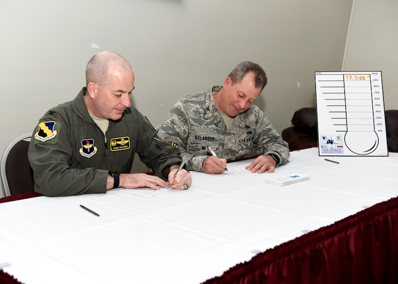 Airmen donating to the Air Force Assistance Fund