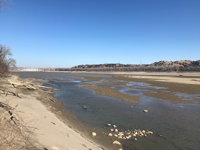 At zero releases, the river bed is exposed below Fort Randall Dam. The Pickstown boat ramp is only able to launch very small boats at this time due to zero water releases, and the Randall Creek boat ramp is unusable. Venturing out onto the river bed presents a safety concern and the public is strongly advised to stay on shore.