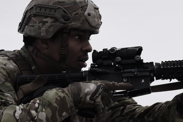 Airman 1st Class Jacquez Simmons, 841st Missile Security Forces Squadron defender, participates in tactical combat casualty care familiarization training March 13, 2019, at Malmstrom Air Force Base, Mont.