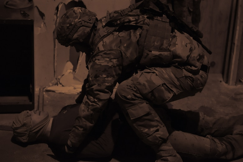 An Airman with the 841st Missile Security Forces Squadron participates in tactical combat casualty care familiarization training March 13, 2019, at Malmstrom Air Force Base, Mont.