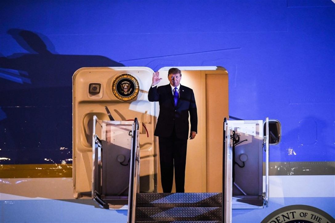 President Donald Trump disembarks from Air Force One at Noi Bai International Airport in Hanoi on Feb. 26. (Courtesy photo by Manan Vatsyayana / AFP - Getty Images)