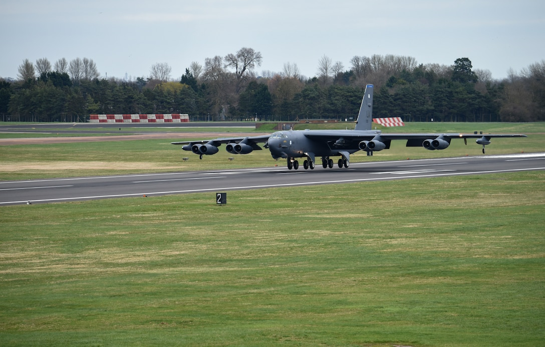 A B-52 Stratofortress deployed from Barksdale Air Force Base, La., lands on the flight line at RAF Fairford, England.
