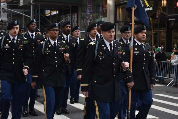 New York Army National Guard Capt. Richard Riley, the Delta Company commander, 1st Battalion, 69th Infantry, leads his Soldiers through Manhattan on March 16, 2019. Riley was leading his Soldiers through the 69th's annual St. Patrick's Day Parade.