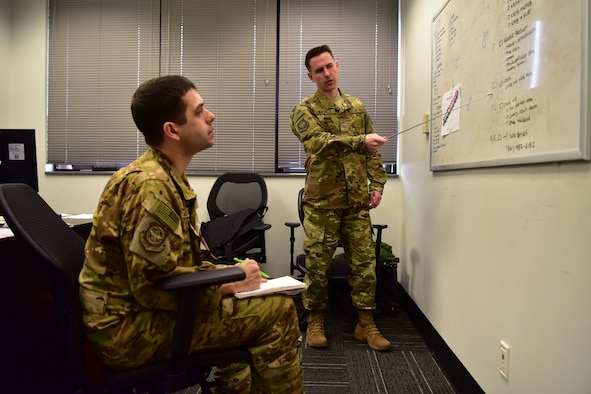 Airman instructs pilot on integrated air defense system kill chain.