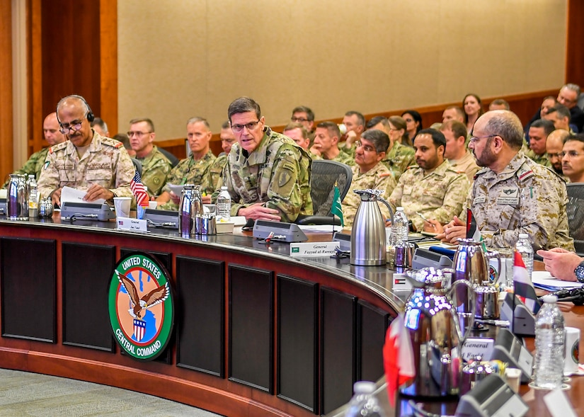 "U.S. Central Command's U.S. Army Gen. Joseph Votel gives opening remarks at the ""Gulf+2"" chiefs of defense conference at the command's headquarters Mar. 19. More than 30 visitors from eight Arab nations came to discuss regional security issues such as maritime security, integrated air missile defense and logistics. This was CENTCOM's fourth such event in the last three years and the first held in the United States. 