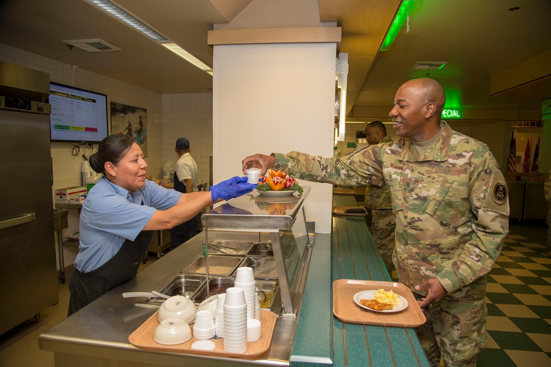 Chief Master Sgt. of the Air Force Kaleth O. Wright visits the Joshua Tree Inn Dining Facility March 18, 2019. The Air Force's top noncommissioned officer received a two-day tour of Edwards Air Force Base. (U.S. Air Force photo by Christopher Okula)