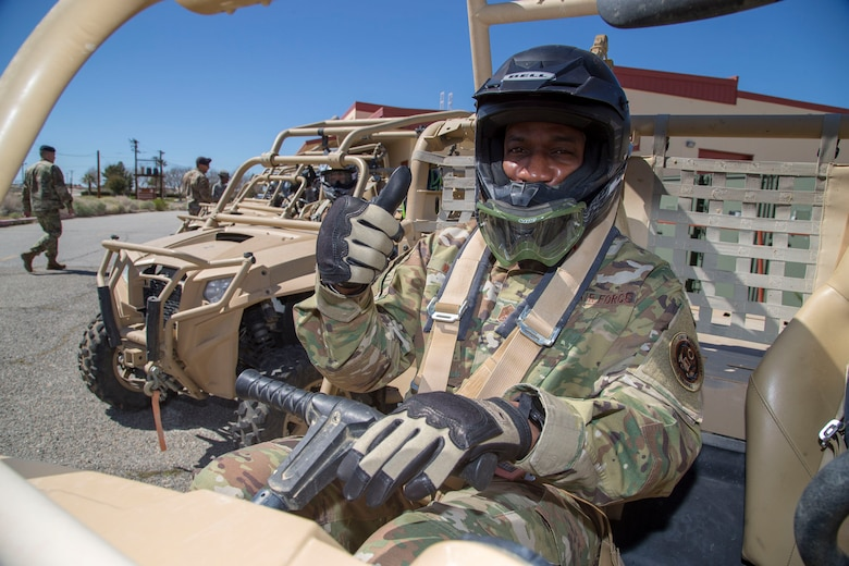 Chief Master Sgt. of the Air Force Kaleth O. Wright prepares to hit the off road with defenders of the 412th Security Forces Squadron, March 18, 2019. The Air Force's top enlisted Airman received a two-day tour of Edwards Air Force Base. (U.S. Air Force photo by Christopher Okula)