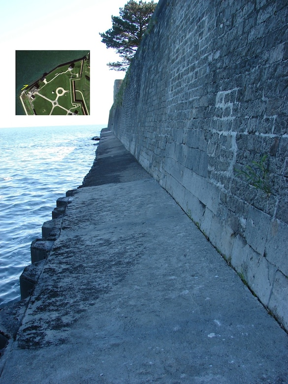 Typical view of the existing seawall that protects Old Fort Niagara, Youngstown, NY, June 4, 2013.