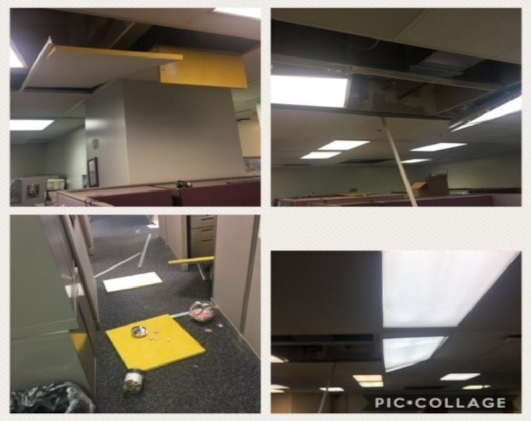 collage of four photos showing earthquake damage, ceiling tiles falling,florescent light covers broken, damaged items on floor