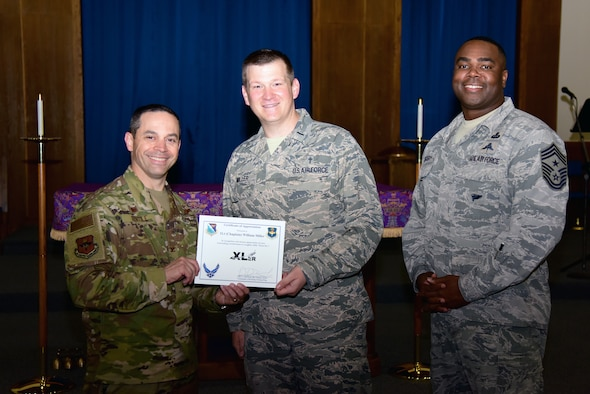 "Chaplain (1st Lt.) William Miller, a 47th Flying Training Wing chaplain, was chosen by wing leadership to be the ""XLer"" of the week, for the week of March 13, 2019, at Laughlin Air Force Base, Texas. The ""XLer"" award, presented by Col. Lee Gentile, 47th Flying Training Wing commander, is given to those who consistently make outstanding contributions to their unit and the Laughlin mission."