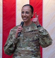 U.S. Air Force Senior Master Sgt. Lucero Stockett, 6th Air Refueling Squadron, delivers remarks during the Women's History Month social gathering, March 20, 2019, at Travis Air Force Base, California. Since 1987, the month of March has been designated to celebrate the historical and ongoing achievements and contributions of women. Members of the Women Inspiring the Next Generation's Success committee were responsible for organizing the event which included an exhibit highlighting extraordinary female heroes and featured speakers prominent in the Travis community. (U.S. Air Force photo by Heide Couch)