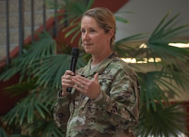 U.S. Air Force Col. Kristen Beals, 60th Medical Group commander, delivers remarks during the Women's History Month social gathering, March 20, 2019, at Travis Air Force Base, California. Since 1987, the month of March has been designated to celebrate the historical and ongoing achievements and contributions of women. Members of the Women Inspiring the Next Generation's Success committee were responsible for organizing the event which included an exhibit highlighting extraordinary female heroes and featured speakers prominent in the Travis community. (U.S. Air Force photo by Heide Couch)