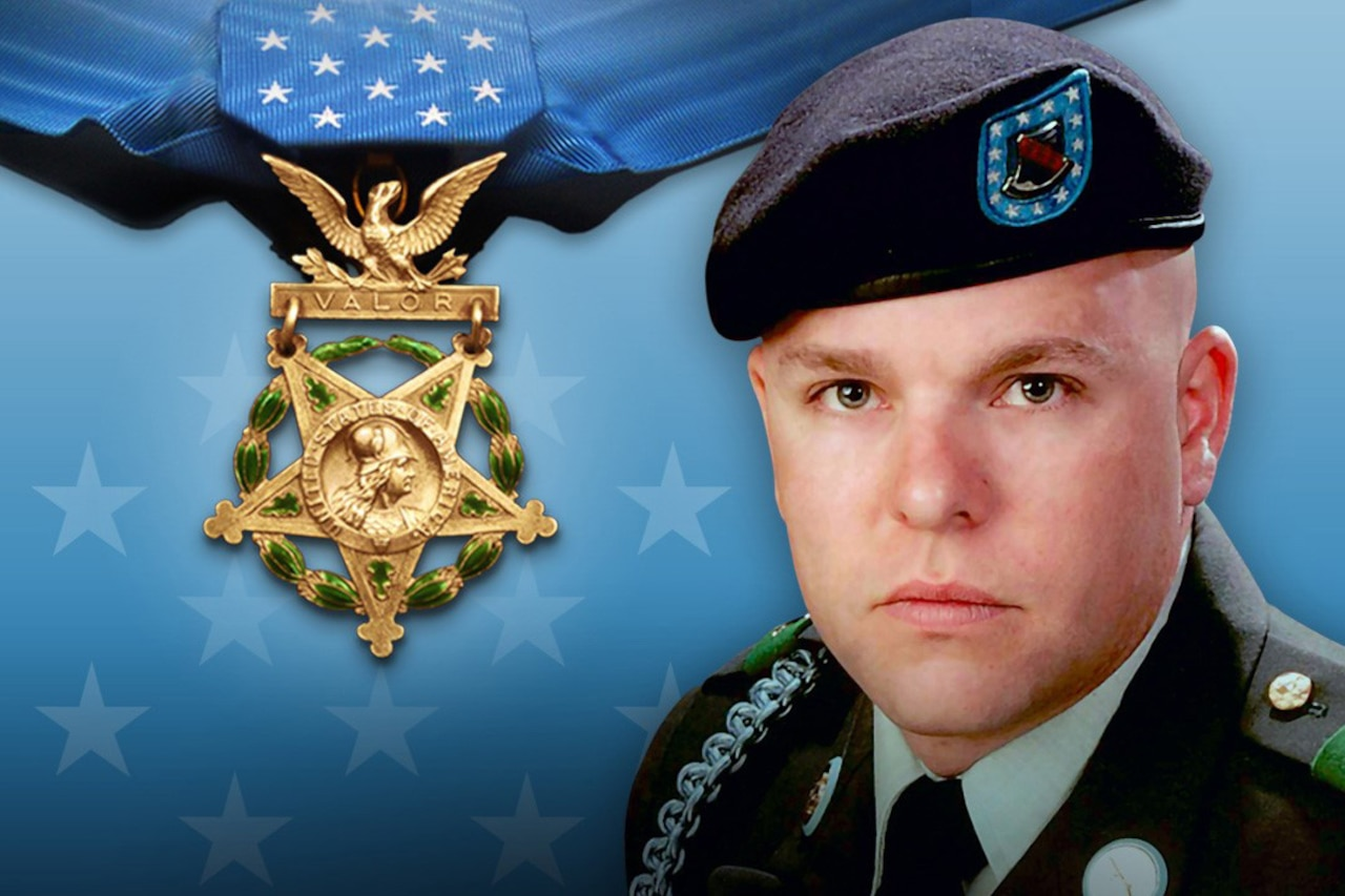 Graphic showing the Medal of Honor beside the photo of a soldier in dress blues.