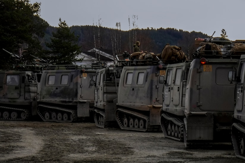 Combat vehicles convoy