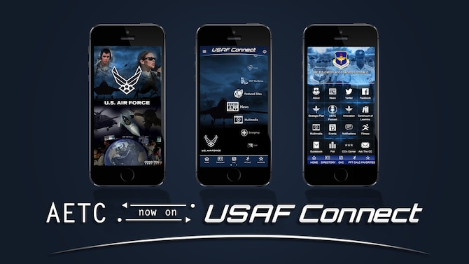 Graphic illustrating the USAF Connect app and AETC's sub-app.