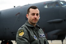 Capt. Matt Sandridge, 20th Bomb Squadron pilot deployed from Barksdale Air Force Base, La., poses for a portrait during a press conference at RAF Fairford, March 19, 2019. The deployment of strategic bombers to the U.K. helps exercise RAF Fairford as U.S. Air Forces in Europe's forward operating location for bombers and includes joint and allied training in the U.S. European Command theater to improve U.S. and allied interoperability. (U.S. Air Force photo by Airman 1st Class Tessa B. Corrick)