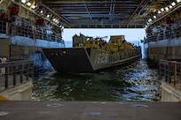 PACIFIC OCEAN (March 11, 2019) Landing Craft, Utility (LCU) 1629, assigned to Beachmaster Unit (BMU) 1, docks with the San Antonio-class amphibious transport dock ship USS Somerset (LPD 25) during Pacific Blitz 2019. Pacific Blitz 2019 is an opportunity for U.S. Forces to increase maritime readiness to be prepared for real-world crisis situations. Pacific Blitz 2019 provides realistic, relevant training necessary for effective global crisis response expected of the Navy and Marine Corps. (U.S. Navy photo by Mass Communication Specialist 2nd Class Heath Zeigler/Released)