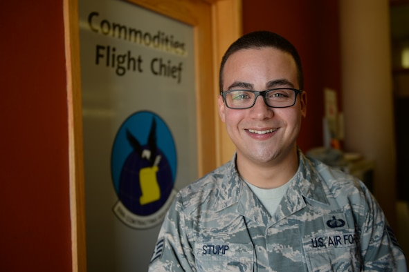 Staff Sgt. Luis Stump, 55th Contracting Squadron commodities flight chief, poses for a photo March 19, 2019, on Offutt Air Force Base, Neb. Stump led the contracting team to complete 22 contract actions totaling $650,000 during recent flood preparations. (U.S. Air Force photo by Tech. Sgt. Rachelle Blake)