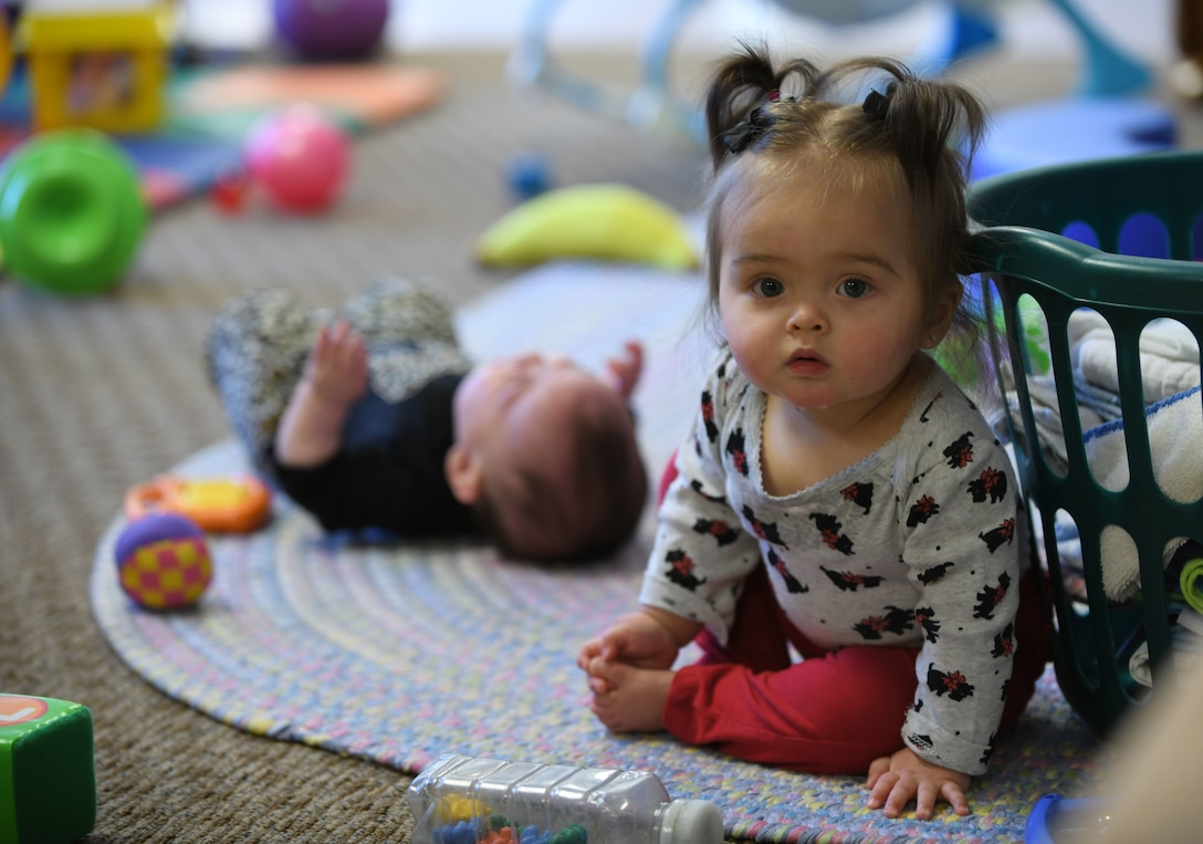 Elena Vega, the daughter of Staff Sgt. Christopher Vega, the 28th Logistics Readiness Squadron's inbound cargo noncommissioned officer in charge, plays in room 116 at the McRaven Child Development Center on Ellsworth Air Force Base, S.D., March 19, 2019. The CDC is slated to begin operating under the New Early learning Matters curriculum. The new curriculum will be broken down into an infant/toddler curriculum and a preschool curriculum.