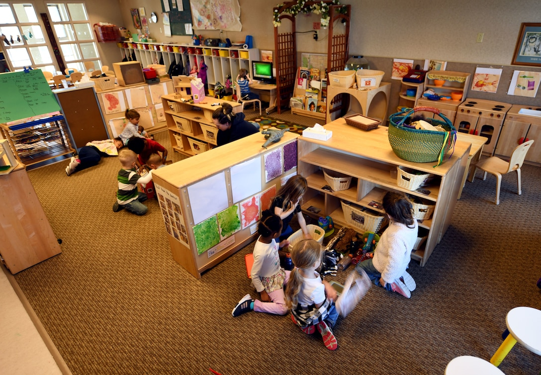 Children from room 135 participate in open playtime at the McRaven Child Development Center on Ellsworth Air Force Base, S.D., March 19, 2019. In the coming months, all Air Force CDC's are scheduled to begin operating under the new Early Learning Matters curriculum. The curriculum was specifically developed with military children in mind.