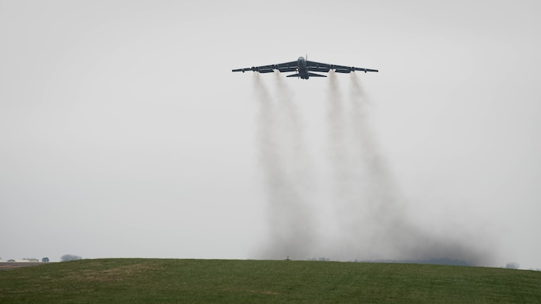A B-52 Stratofortress deployed from Barksdale Air Force Base, La., takes off from RAF Fairford, England, March 21, 2019. The B-52s are deployed to support U.S. Strategic Command's Bomber Task Force in Europe.