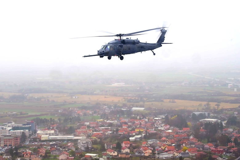 A U.S. Air Force HH-60G Pave Hawk, based out of Aviano Air Base, Italy, transports simulated casualties during a Non-combatant Evacuation Operation exercise near Zagreb, Croatia, March 18, 2019. NEO exercises simulate the ordered or authorized departure of civilians and non-essential military personnel from danger in an overseas country. (U.S. Air Force photo by Senior Airman Kevin Sommer Giron)