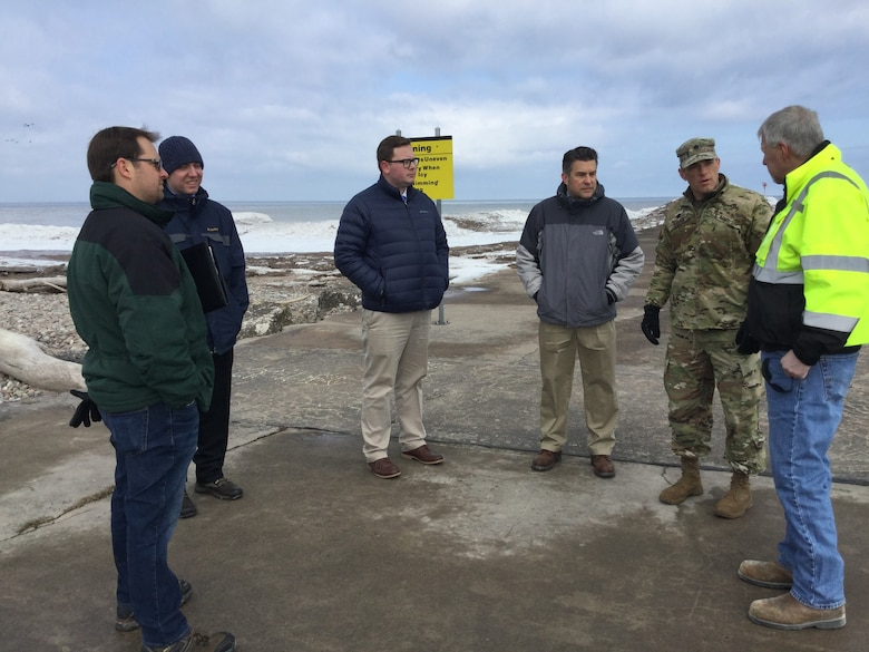A team of U.S. Army Corps of Engineers Buffalo District leadership, including Buffalo District Commander Lieutenant Colonel Jason Toth, made a trek out to the Village of Fair Haven to meet with local officials and stakeholders to get a first-hand look at the failing steel sheet-pile on the Fair Haven west pier, Fair Haven, NY, March 19, 2019.