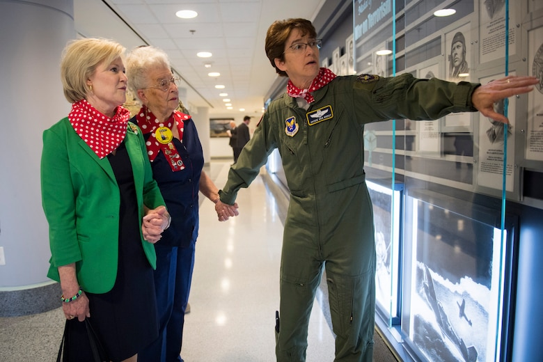Lt. Gen. Jacqueline D. Van Ovost, Headquarters Air Force director of staff, gives Mae Krier, an original Rosie the Riveter a tour of the Pentagon in Arlington, Va., March 20, 2019. Krier was accompanied by Dawn Goldfein, the spouse of Air Force Chief of Staff Gen. David L. Goldfein. (U.S. Air Force photo by Adrian Cadiz)