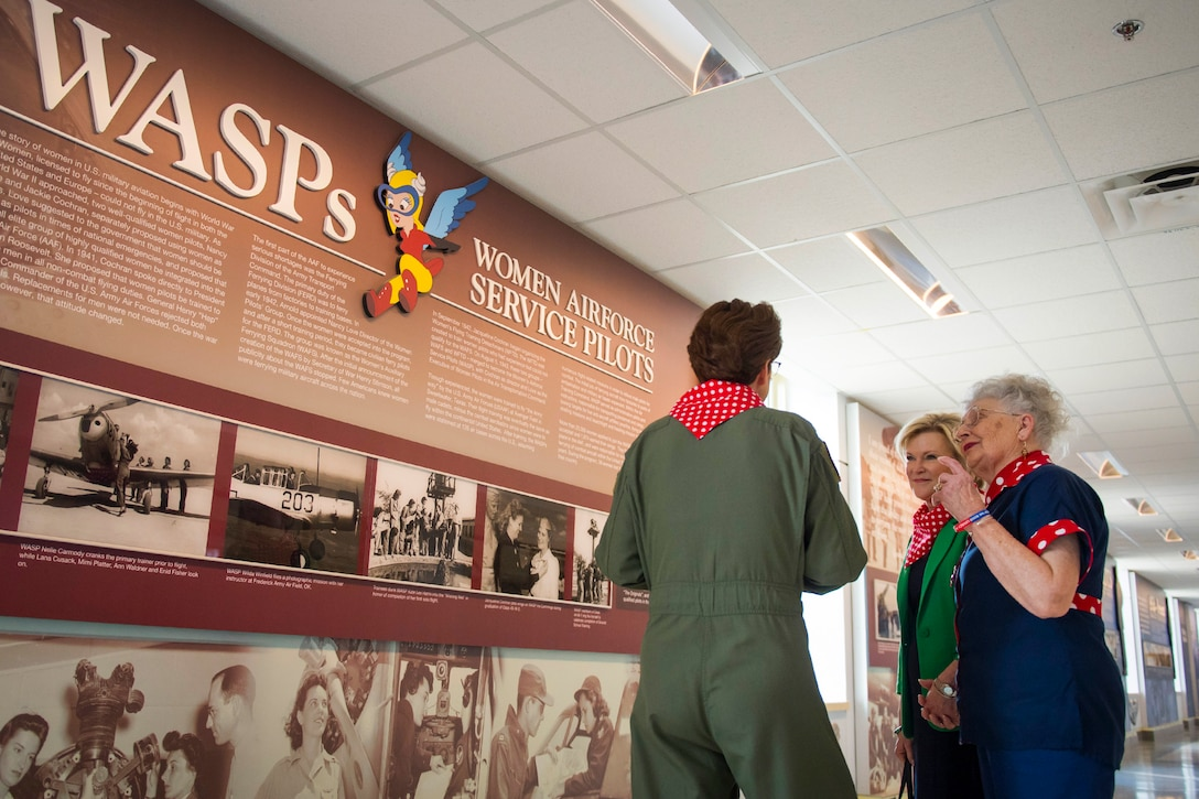 Headquarters Air Force Director of Staff Lt. Gen. Jacqueline D. Van Ovost, Headquarters Air Force director of Staff, gives Mae Krier, an original Rosie the Riveter, a tour of the Pentagon in Arlington, Va., during her first-ever visit March 20, 2019. Krier was accompanied by Dawn Goldfein, the spouse of Air Force Chief of Staff Gen. David L. Goldfein. (U.S. Air Force photo by Adrian Cadiz)