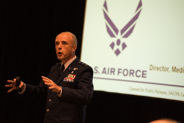 "Maj. Gen. Robert Miller, the director of Air Force Medical Operations and Research was the keynote speaker at the Total Exposure Health Conference in September, 2018 in Rockville, Maryland. The conference was hosted by the Department of Energy's Pacific Northwest National Laboratory, in partnership with the Air Force Medical Service. During the conference, Miller emphasized the conference's theme of ""Making A Difference Together,"" noting the importance of industry collaboration to further understand the impact of adverse exposures on warfighter health. (Courtesy photo)"