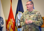 Army Brig. Gen. Mark Simerly talks to workforce at town hall