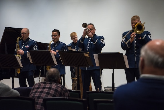 Members of the Airmen of Note perform at the The Lyceum, Alexandria, Virginia's History Museum, on March 7th as part of The U.S. Air Force Band's Chamber Concert Series.