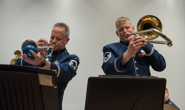 Chief Master Sgt. Kevin Burns and Master Sgt. Kevin Cerovich, two members of the Airmen of Note, perform at the The Lyceum, Alexandria, Virginia's History Museum on March 7th as part of The U.S. Air Force Band's Chamber Players Series.
