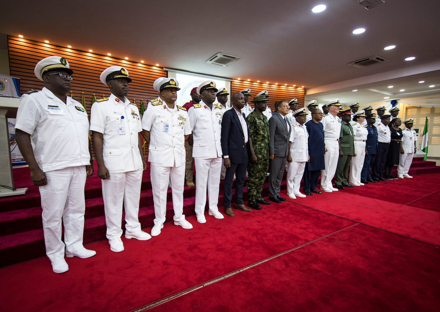 Chiefs of navy and high-level dignitaries from around West Africa, Europe and the U.S. pose for a group photo.