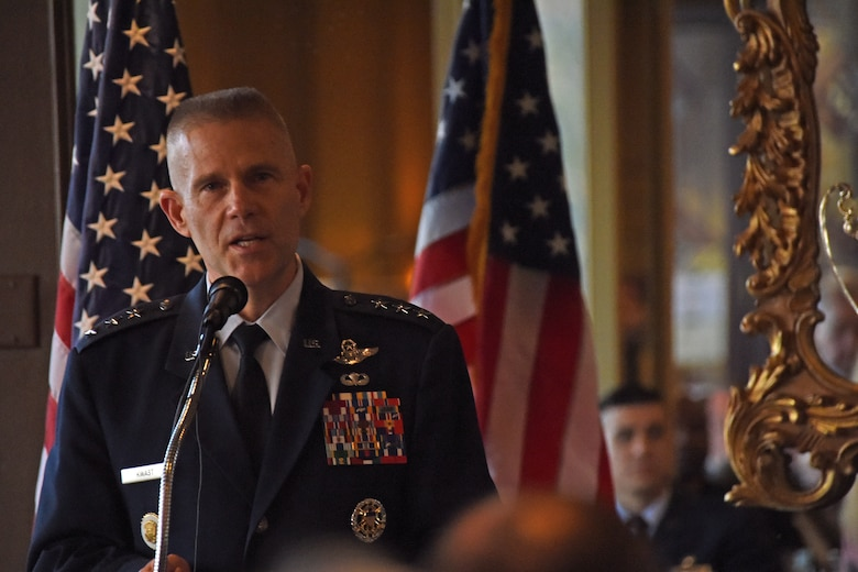 U.S. Air Force Lt. Gen. Steve Kwast, commander of Air Education and Training Command, speaks during dinner with San Angelo and Goodfellow leaders, before the presentation of the Altus Trophy at the Riverview Restaurant in San Angelo, Texas, March 20, 2019. This is the second time that San Angelo has won the Air Education and Training Command Community Support Award. (U.S. Air Force photo by Senior Airman Seraiah Hines/Released)