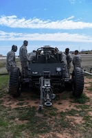 366th Civil Engineers test a mobile aircraft arresting system at Sheppard AFB