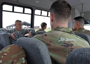 U.S. Air Force Lt. Gen. Steve Kwast, commander of Air Education and Training Command, speaks with Goodfellow leaders while traveling to San Angelo March 20, 2019. During the tour, Kwast visited the San Angelo Fire Department Station No. 7 and Angelo State University and learned more about partnerships between members at Goodfellow AFB and local groups. (U.S. Air Force photo by Airman 1st Class Zachary Chapman/Released)