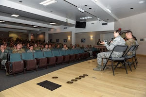 Sheppard Airmen talk to NCOs during the first crosstalk panel