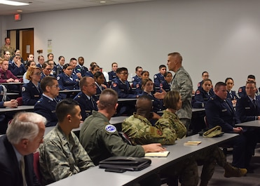 U.S. Air Force Lt. Gen. Steve Kwast, commander of Air Education and Training Command, addresses Junior Air Force ROTC and ROTC students during his visit of Angelo State University in San Angelo, Texas, March 20, 2019. Kwast spoke with the students about the importance of bringing in new points of view to innovate and defend against future threats. (U.S. Air Force photo by Airman 1st Class Zachary Chapman/Released)