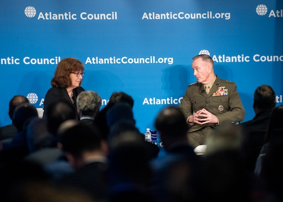 """Marine Corps Gen. Joe Dunford, chairman of the Joint Chiefs of Staff, participates in the 10th Anniversary of the Atlantic Council's Commanders Series """"US Military Strategy in the Era of Great-Power Competition"""" at the Atlantic Council's Headquarters, March 21, 2019. (DoD Photo by Navy Petty Officer 1st Class Dominique A. Pineiro)"""