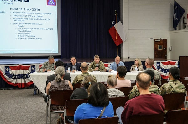 Lt. Gen. Jeffrey S. Buchanan (center), U.S. Army North commander and senior Army commander for Joint Base San Antonio-Fort Sam Houston, as well as other JBSA-Fort Sam Houston and Lincoln Military Housing leaders, addressed additional housing concerns at the second Army Family Housing Town Hall. This town hall provided an update for housing residents and new steps residents can utilize to help with issues in the future.